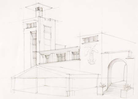 imagining: architectural perspective of holiday property with pavilion in front, drawn by hand