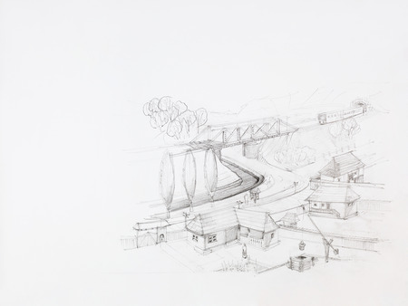 perspective view of village and railway on bridge, drawn by hand photo