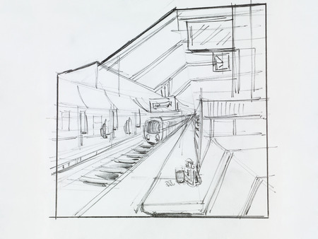 architectural perspective view of train station, drawn by hand photo