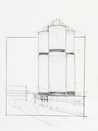 industrial design: architectural perspective of factory towers, drawn by hand
