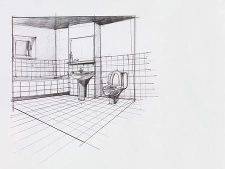 interieur hand getekend perspectief van een appartement badkamer Stockfoto
