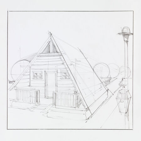 hand drawn architectural perspective of wooden camping house photo