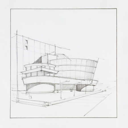 architectural design: hand drawn architectural perspective of modern office building