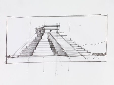 chichen: architectural perspective of Mayan pyramid of Kukulcan El Castillo in Chichen Itza, Mexico, drawn by hand Stock Photo