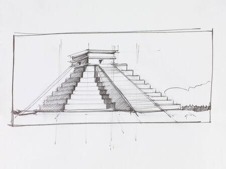 chichen itza: architectural perspective of Mayan pyramid of Kukulcan El Castillo in Chichen Itza, Mexico, drawn by hand Stock Photo