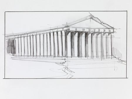 templo griego: dibujado a mano perspectiva arquitectónica de un antiguo templo del Partenón Foto de archivo
