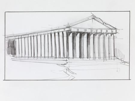 greek temple: hand drawn architectural perspective of ancient parthenon temple