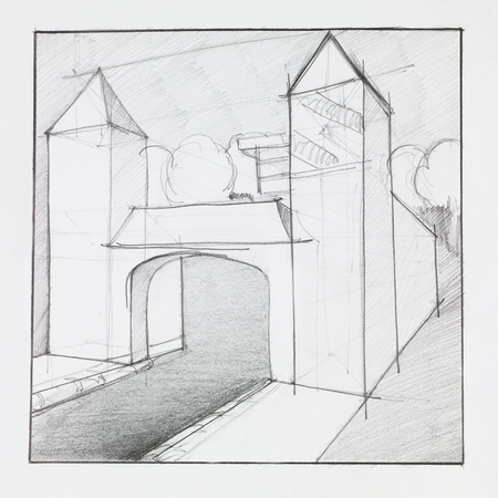 front gate: architectural perspective of arched gate with towers made out of geometrical forms, drawn by hand Stock Photo