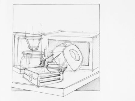 artistic designed: hand drawn illustration of composition with objects, artistic study