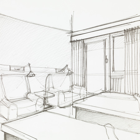 drawing room: graphic sketch of hotel room with two armchairs and single beds, drawn by hand