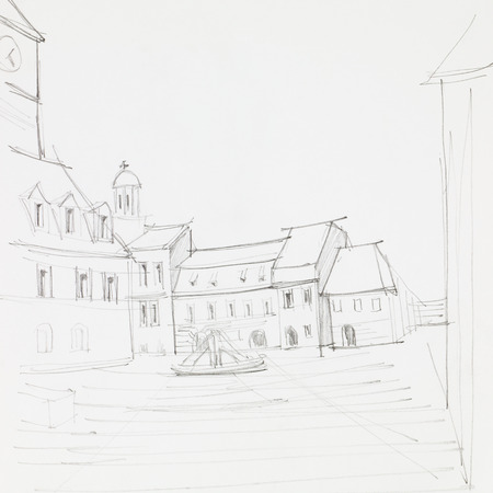 imagining: graphic sketch of Council Square in Brasov, Romania, drawn by hand