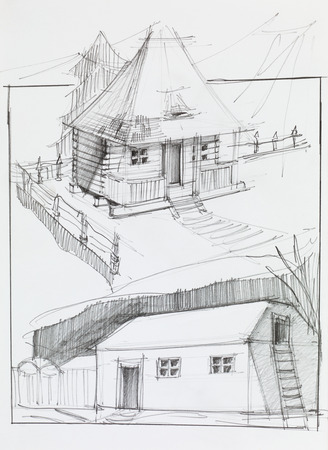 old barn: hand drawn pencil sketch of an old country house and barn Stock Photo
