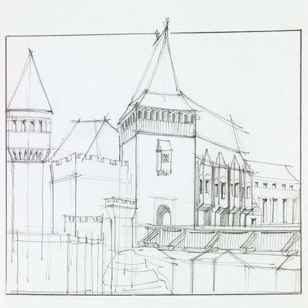 architectural heritage: hand drawn architectural perspective of  The Hunyad Castle, medieval gothic-renaissance castle in Hunedoara, Romania Stock Photo