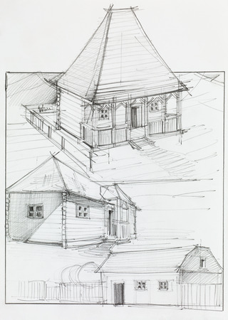 architect plans: architectural perspective of countryside  wooden house and barn, drawn by hand