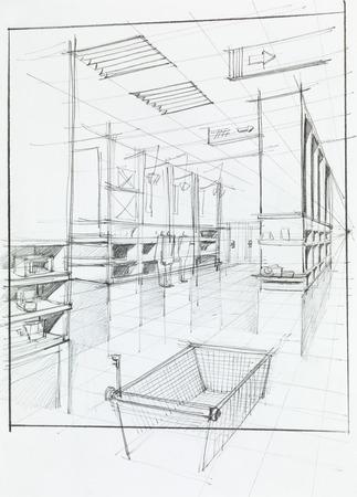 hand drawn illustration of supermarket interior and empty shopping cart illustration