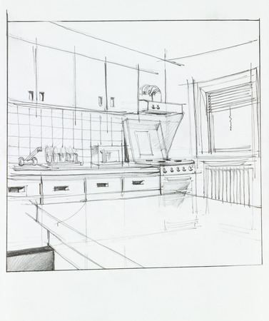 interior hand drawn perspective of kitchen photo