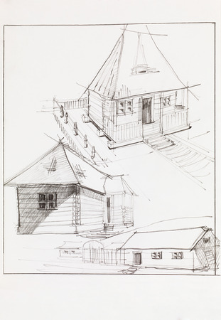 skecth: architectural perspective of countryside  wooden house and barn, drawn by hand