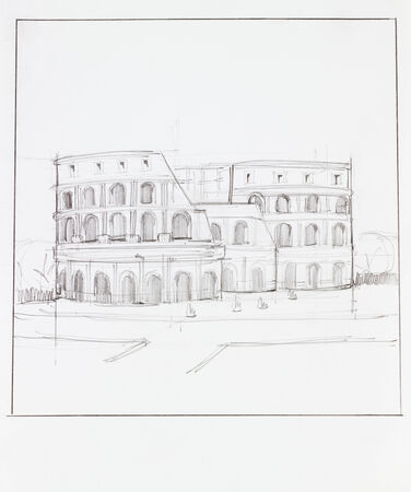 hand drawn illustration of colosseum of Rome in Italy, with square frame
