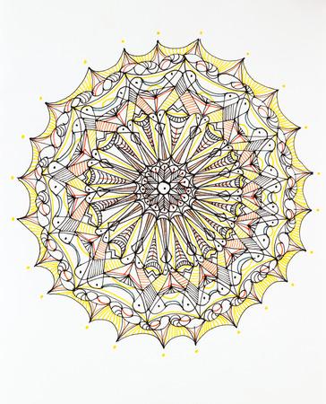 hand drawn beautiful, complex mandala design on white background photo