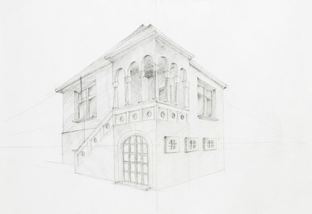 architectural studies: graphic sketch, architectural perspective of old house, drawn by hand