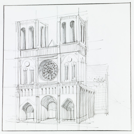 notre: architectural perspective of Notre Dame Cathedral in Paris, drawn by hand