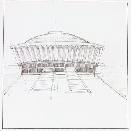 imagining: hand drawn architectural drawing of modern pavillion building