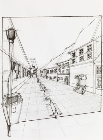 street lamp: hand drawn architectural perspective of  pedestrian street