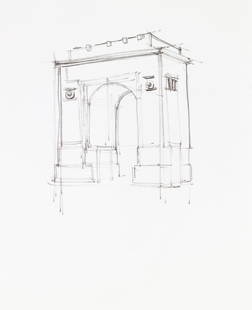 construction plan: simple hand drawn sketch of triumph arch in Bucharest, Romania