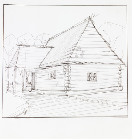 architectural perspective of wooden chalet, drawn by hand Stock Photo