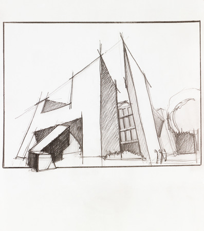 property development: hand drawn architectural perspective of modern building