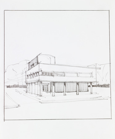 architectural drawing: architectural perspective of modern building in urban landscape, drawn by hand