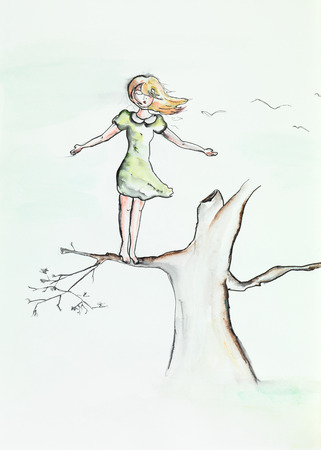 freedom of expression: hand drawn watercolor illustration of young beautiful girl standing on a branch, with flight gesture Stock Photo
