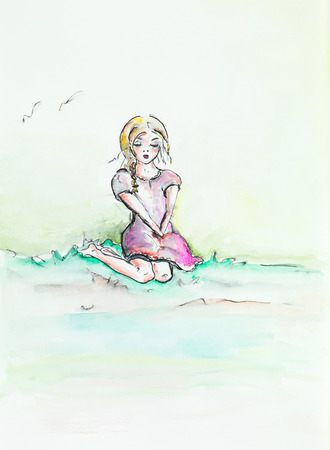sad teenage girl: hand drawn watercolor illustration of beautiful girl sitting on her knees, looking melancholic