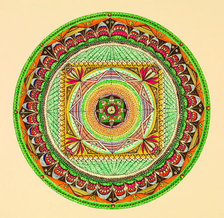 hand drawn beautiful mandala ornament using colored markers photo