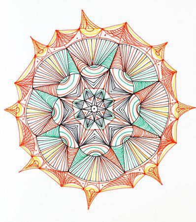 hand drawn interesting colorful mandala pattern on white  photo