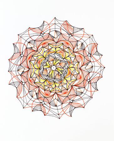 hand drawn colorful mandala pattern on white  photo
