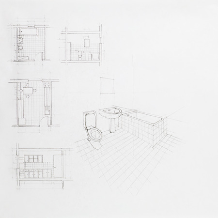 hand drawn architectural perspective of an apartment bathroom and blueprint of other rooms photo