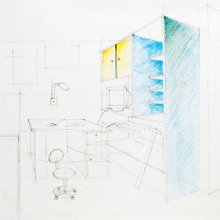 t square: architectural perspective of an interior working space, drawn by hand