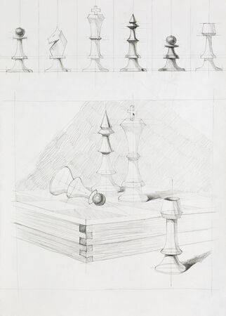 imagining: graphic illustration of chess pieces set on a chess board, drawn by hand