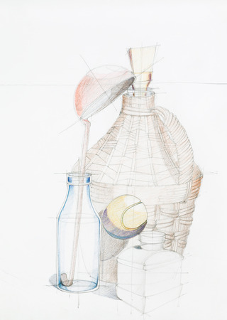 demijohn: artistic study of objects shapes composition, drawn by hand