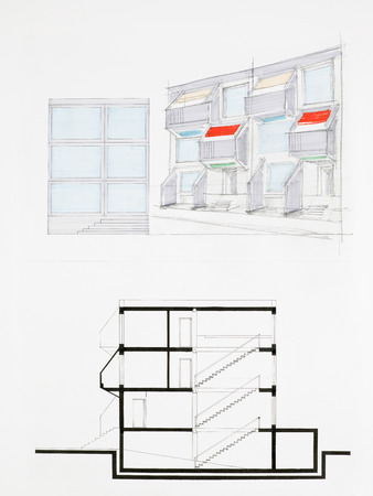 imagining: colored architectural blueprint of modern house facade, drawn by hand