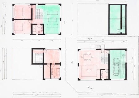 floorplan: colored hand drawn floorplan of modern house