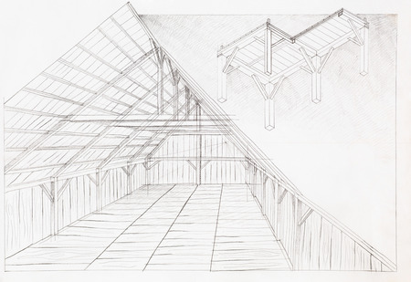 roofing: hand drawn architectural illustration of wooden attic, perspective view