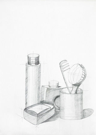handmade soap: illustration of still life with objects, drawn by hand Stock Photo