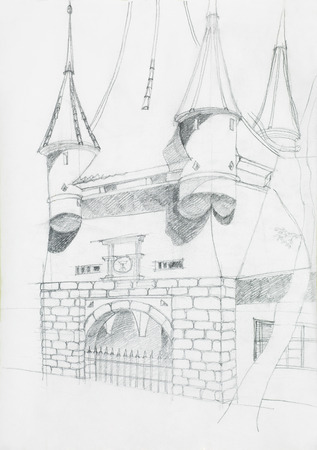 imagining: medieval gate sketch, one of the entrance in the city of Brasov, Catherines gate, drawn by hand