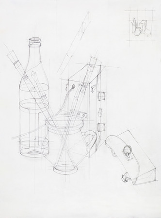 artistic study of composition with objects, drawn by hand photo