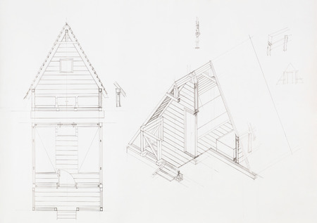 architectural blueprint of house with attic, drawn by hand photo
