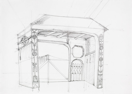 skecth: architectural drawing of rustic wooden gate, drawn by hand