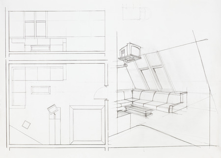 interior plan: architectural plan of interior, living room