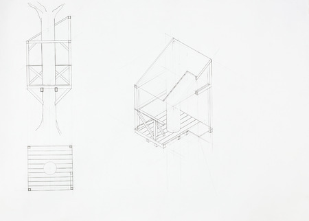 imagining: architectural blueprint of tree house, drawn by hand Stock Photo